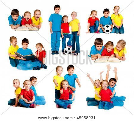 set of images small kids isolated on a white background
