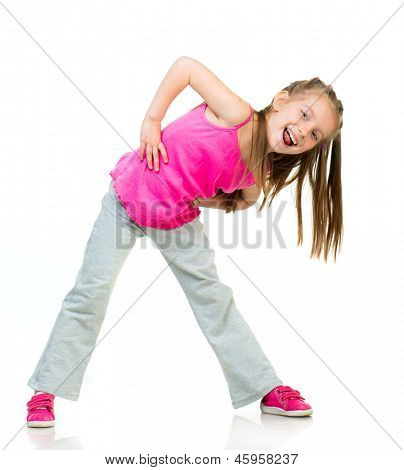 young girl gymnast isolated on a white background