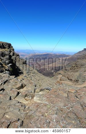 The road up Sani Pass between South Africa and Kingdom of Lesotho