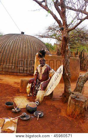 Zulu Chief in Shakaland Zulu Village, South Africa