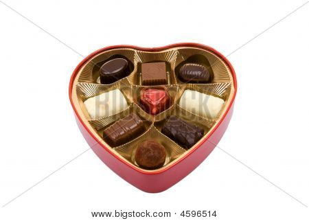 Pralines In Heart Box