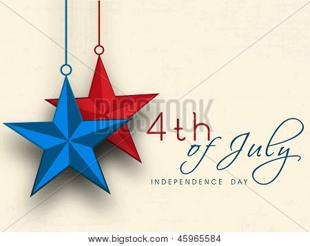 4th of July, American Independence Day concept with hanging red and blue stars. poster