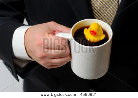 Rubber Ducky In Coffee Cup