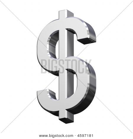 Chrome Dollar Sign Isolated On White