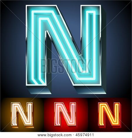 Vector illustration of realistic neon tube alphabet for light board. Gold and Silver and Red options. Letter N