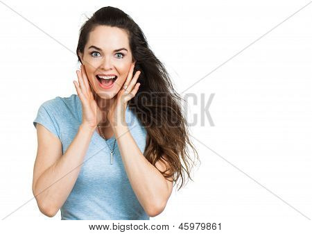 Surprised Attractive Woman Looking At Camera.