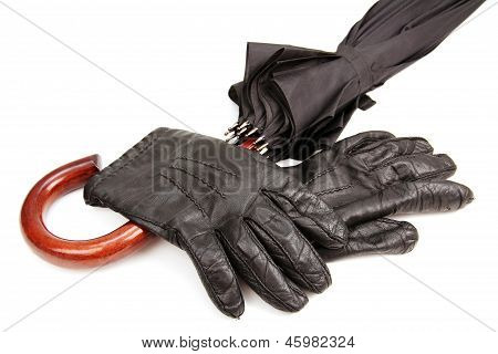 Men's Gloves And A Parasol.