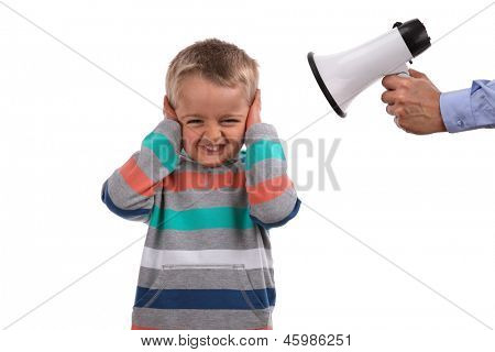 Father or teacher telling off son or pupil by shouting through a megaphone whilst his hands covering ears not listening poster