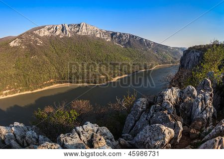 """landscape in the Danube Gorges """"Cazanele Mari"""" seen from the Romanian side poster"""