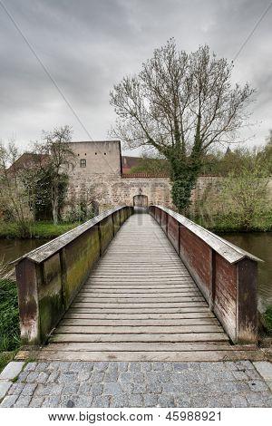 Old wood bridge in Dinkelsbuhl, Bavaria, Germany
