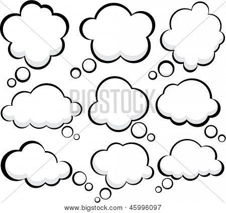 Set of comic style speech bubbles. Vector clouds. Eps10.