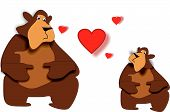 two cute bears in a beary love situation... hearts galore... poster