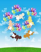 five babies of different human races flying all together on colorful balloons on a blue sky background symbol of human unity poster