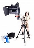 operator work with hd camcorder on handly studio crane poster
