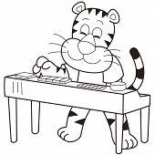 a cartoon tiger playing an electronic organ. poster