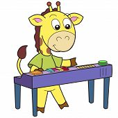 Cartoon giraffe playing an electronic organ. vector illustration with white poster