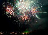 Salute fireworks above the bay. Sevastopol Ukraine. poster