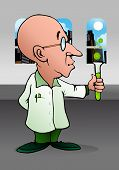 illustration of a cartoon bald scientist doing chemistry experiment on laboratory poster