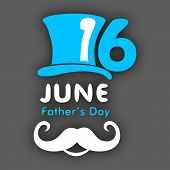 Happy Fathers Day background with hat, mustache design on grey background. poster