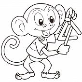 Cartoon monkey playing a triangle.black and white poster