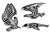 Tribal eagle, hawk and falcon set for tattoo or heraldry design poster