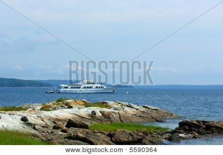 Large Motor Yacht At Anchor