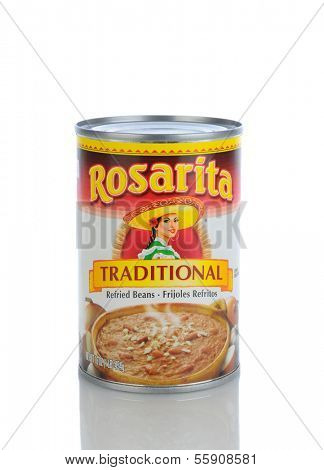 IRVINE, CA - JANUARY 11, 2013: A 16 oz. can of Rosarita Traditional Refried Beans. Rosita Mexican Food Products was founded in the 1940s, by Pedro Guerrero of Arizona.