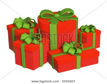 Five Boxes With Gifts, Fastened By Tapes