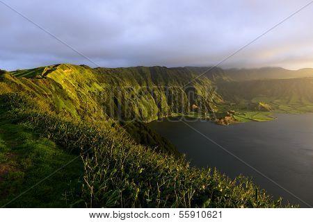 Lagoa Azul, Lake In A Crater, Azores Archipelago (portugal)