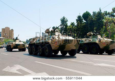 BAKU, AZERBAIJAN - JUNE 26, 2011 - Military Parade in Baku, Azerbaijan on Army Day