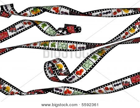 Curvy  Film Stripes With  Beautiful Healthy Food Images, High Detail