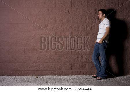 Young Man Outdoors At Night