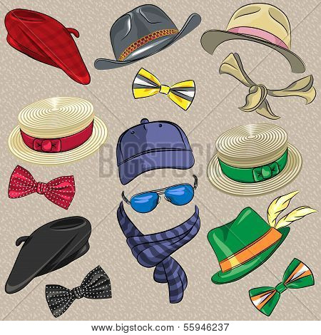 set hipster hats scarves bow tie glasses poster
