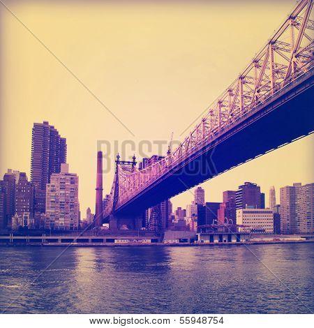 Vintage image of Queensboro Bridge in New York City.