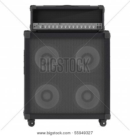 bass guitar amplifier with control panel isolated