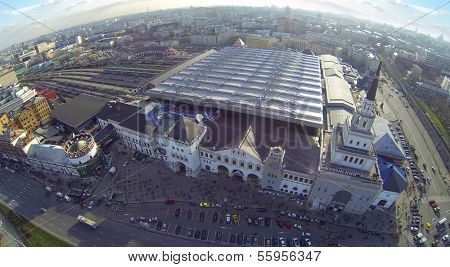 MOSCOW, RUSSIA - NOV 09, 2013: (view from unmanned quadrocopter) Kazansky railway stations. Station was opened in 1864.