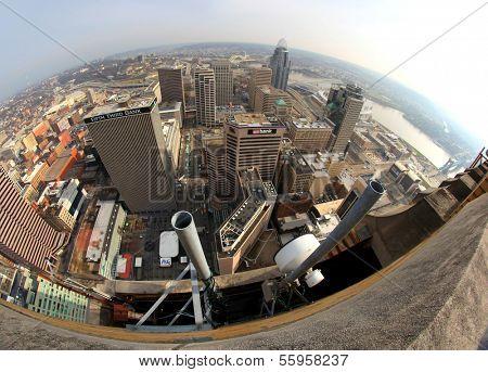CINCINNATI, OH -  DECEMBER 18 2012: Aerial view of Cincinnati, December 18, 2012. Cincinnati metropolitan area is 27th largest in USA and biggest in Ohio