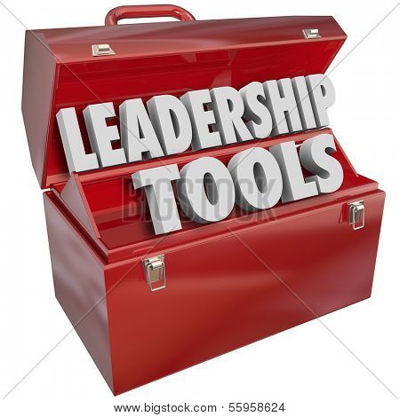Leadership Tools Words in Red Toolbox Management Skills