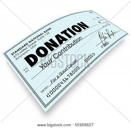 Spende Check Geld Beitrag zur Charity gemeinnützige Gruppe