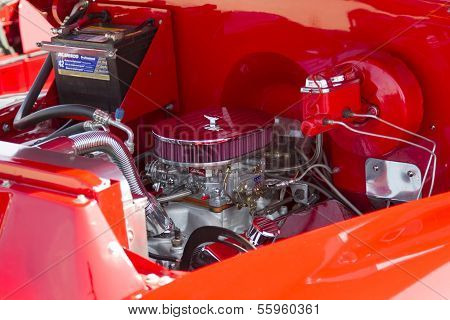 Red Chevy Antique Pick Up Truck Engine