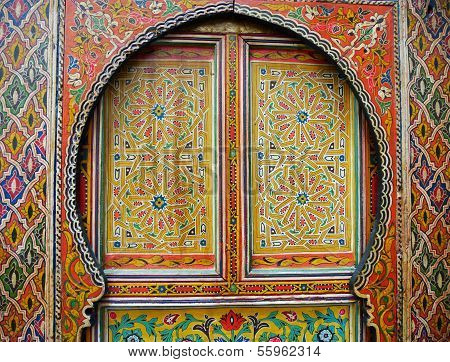 Traditional colourfully painted Moroccan door