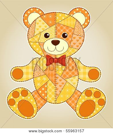 Application happy bear. Vector children patchwork illustration. poster
