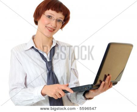 Secretary With The Laptop