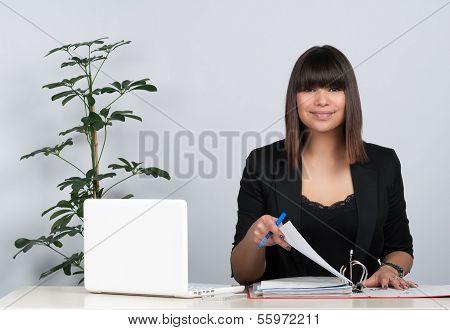 Woman Organizes File