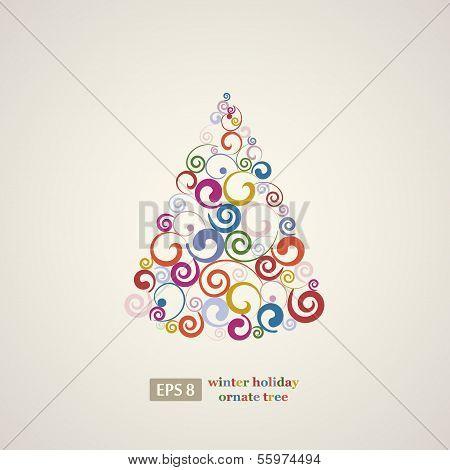 Winter holidays decoration swirls tree.