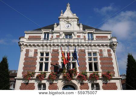 France, The Historical City Hall Of Villers Ur Mer