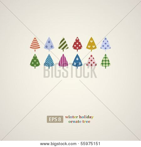 Colorful winter holidays trees frame.
