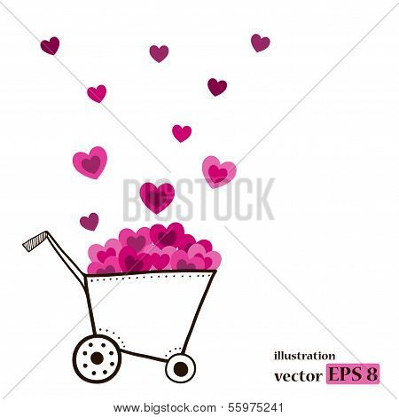 Garden cart with pink hearts.