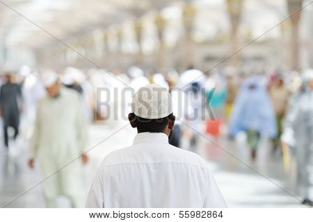 Muslim people in crowd