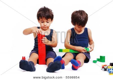 Children Playing And Learning In Isolated Background